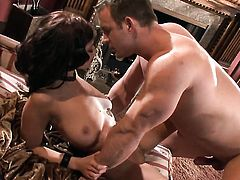 Halie James wraps her lips around guys rock hard rod