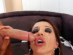 Brunette is sucking dick. She does it so well that she receives a hot load in her face. She loves being cumshot and semen is dripping from her sexy and hungry mouth.