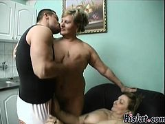 Two fat mature bitches enjoy a long rod