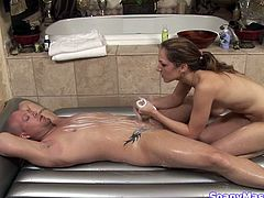 Kinky pale light haired masseuse jacks off client's strong cock in wild way