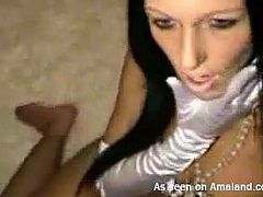 Small tittied chick fucks her pretty shaved pussy with sex toy