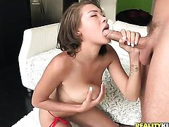 Huge tits brunette handles hard dick