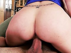 Anna Morna gets throat fucked by mans erect tool