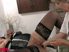 Two mature babe shave a threesome with a hard cock