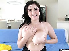 Brunette Beverly Paige with juicy butt is skilled enough to make guy cum again and again