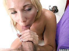 Blonde Eva Cole gets her mouth fucked silly by fuck hungry guy