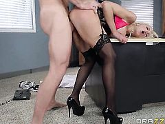 Sex in office with a blonde boss