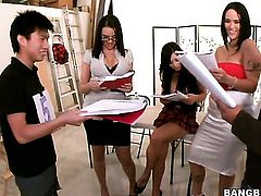 Huge tits babes do some casting