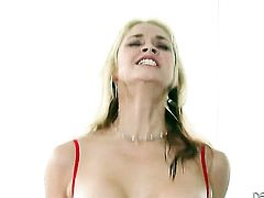 Eric Masterson uses his stiff pole to bring blowjob addict Sarah Vandella with gigantic boobs to the height of pleasure
