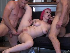 Watch redhead tattooed milf having threesome with young men. These two strong guys strips her in the kitchen and starts fucking on the floor. She laughs, moans and enjoys each and every moment of this session. One of the best threesome videos!