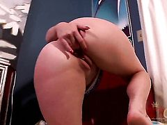 Brunette Sierra Sanders with big bottom and trimmed muff rubbing her beaver