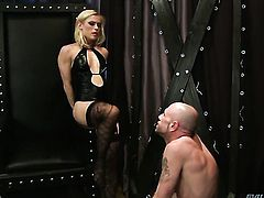 Blonde pornstars dominates a guy