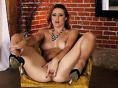 Tattoos Karlie Montana gives herself some muff stimulation with the help of her sex toy