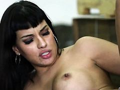 With big breasts gets mouth pounded by Derrick Pierces rock solid schlong