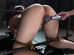 Japanese BDSM is different from regular bondage and domination videos. Saegusa Chitose is chained tightly, so that she is unable to move. Her most private parts are exposed and they are at the mercy of her master. He used vibrator and fucked her pussy mercilessly, without listening to her screams.