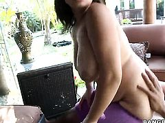 Brunette sexy Selena Castro with juicy ass has oral fun with hard cocked bang buddy