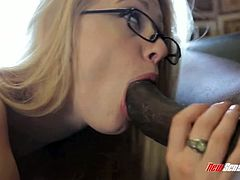 Lustful blonde Allie James gets ruthlessly nailed on the couch