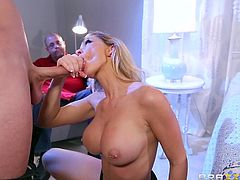 Destiny is tired of her husband's pathetic cock. She wants the big dick that the neighbor has. The nasty slut sucks on his big cock and makes her husband watch in shame. The husband wishes he could join in on the 69 action, but he is not allowed.