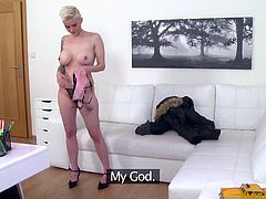 busty tattooed slut sucks dick at fake casting