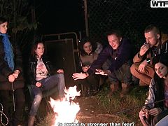 These college babes are hanging out with some guys, enjoying a nice, cozy campfire outside. It's almost time to start the party, so they head inside for some comfort and partying. The drinks flow, the clothes come off and cocks come out, to get jerked and sucked on by the horny sluts.