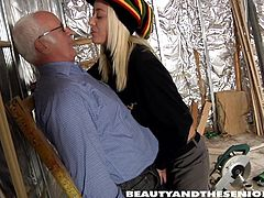 lucky grandpa gets his dick sucked by blonde babe