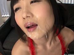 Ootsuki is not one to neglect her own pleasure, while men are getting theirs with her. She's got her vibrator plugged in and buzzing right on her clit, as these guys drop their sticky loads on her face and in her mouth.