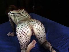 Busty Japanese Azumi fucked and jizzed wearing fishnet