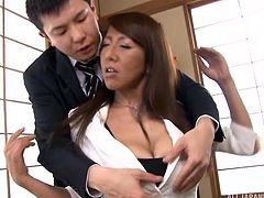 Rika and her husband still have passion after all these years. The sexy mature Japanese lady has her clothes taken off and her man plays with those ginormous natural breasts she has. Her nipples are sucked and her crotch gets rubbed.