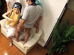 This blonde Japanese beauty is dressed like her favorite pilot from a famous anime. But the chick in the anime never got into a dirty deed like this. She is on her knees sucking off multiple men. She takes it from behind with a cock in her mouth. Look at how she beautifully rides shaft.