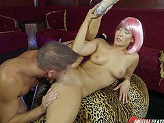 Stripper with pink hair gives him a dance and lets him fuck her