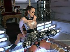 He can clench his asshole closed all he wants, but it won't do him any good. His mistress has him tied up, so she can violate his pathetic ass. The goddess rubs her latex covered ass over his flaccid cock and rams his butt with her strap on.
