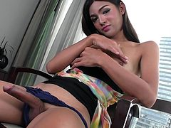 Name is a very pretty shemale, which is very nice. She also has a pretty nice dick, which gives her a double bonus. The smiling ladyboy gets undressed and begins stroking her cock for us to see. She even oils herself up for those who are watching her, like you right now. The best of both worlds, indeed.