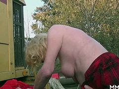This German granny is up for anything cock related. She is blonde, skinny and has big natural tits and wants cock in her. She blows hard and gets a fun pounding finishing it in her mouth.