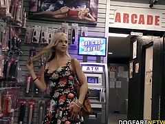 Busty blonde Sarah Vandella gets her pussy and ass fucked by big black gloryhole cock.