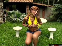 Adorable and natural shemale Taiana took off her shorts and top down to her yellow panties squeezing and petting huge ass and jerking off her thick shecock along with those sexy hardened nipples...