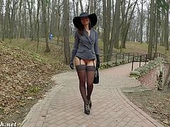 Jeny Smith naked walk in a park.