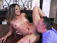 Kaylani Lei surprised her husband, by lying naked on the dining table with strawberry decoration on her superb body. Keiran was shocked for a moment, but realized the importance of the day and banged her really hard. Starting from kissing to pussy fuck, you can expect everything in the full video.