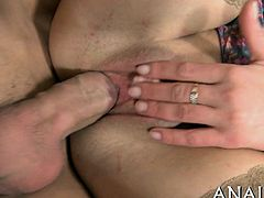 Hunk is delighting sweetheart with a lusty anal drubbing