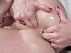 If there is one thing that Penny enjoys besides getting penetrated and cumming, it's being dominated... by another woman, that is. Lorelei is a little rough, stuffing her fingers in Penny's ass and making her suck them.