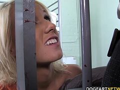 Petite blonde Alexia Skye sucks big black cock in front of her father.