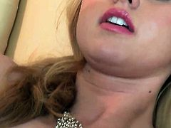 Lovely harlot Jessie Rogers satisfies her sexual needs and desires alone in solo scene