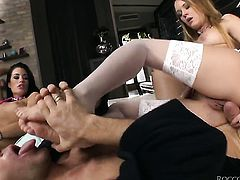 Rocco Siffredi buries his erect rod in alluring Blue Angels mouth before she takes it in her deadeye
