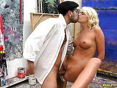 Blonde Ivana Sugar burns with desire before it comes to booty fucking with Voodoo before she gives headjob