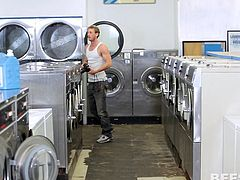 Doing the laundry can be great fun! Four amusing young bitches flash their camera, as a guy gets naked. The group of horny ladies comes closer, to play with that appetizing dick. They even gather around, and start sucking it with fervor. See the spicy details!