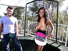 Brunette ebony Jezabel Vessir has a great time jerking man off