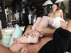 April Blue finds Rocco Siffredi handsome and takes his hard love wand in her mouth after anal sex
