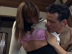 Slightly tan Japanese schoolgirl is summoned by an older gentleman for spanking and anal inspection followed by the beginnings of a threesome of a devils variety with English subtitles
