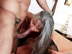 Marco Banderas uses his rock hard cock to make blowjob addict Amazingly sexy seductress Leilani Lei happy
