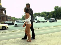 Watch the dirty actions of Juliette March in busy streets. She was tied-up, spanked, slapped and obviously, fucked hard as her beautiful body is fully exploited. She became fully nude in public and begged strangers to fuck. Watch the full video to know how dirty and shameless Juliette March is.