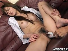 Asian with perky implants fucked by a dildo